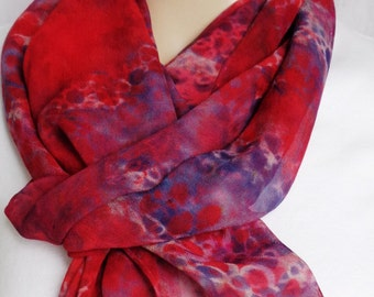 silk scarf chiffon Red Navy Chain hand painted extra long unique wearable art women