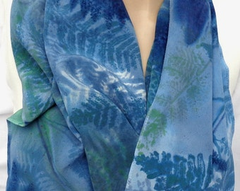 silk scarf hand painted Blue Fern unique crepe large long luxury wearable art women fashion wedgewood blue navy