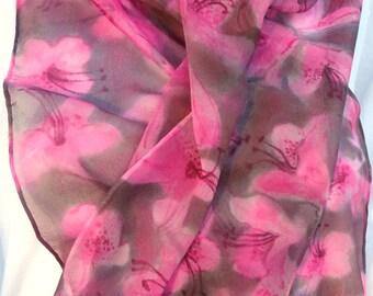 silk scarf chiffon Pink Azalea hand painted unique grey flowers luxury wearable art women long spring fashion
