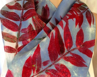 silk crepe scarf hand painted Red Sumac Sky unique long luxury women wearable art morgansilk scarves