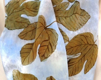 silk crepe scarf Bronze Fig Leaf Stormy Sky unique long luxury hand painted wearable art women fashion blue clouds leaves