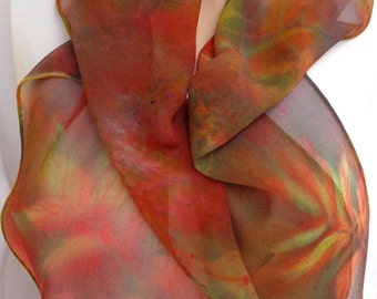 silk scarf hand painted Swamp Weeds chiffon long unique wearable art coral pink lime green teal blue women