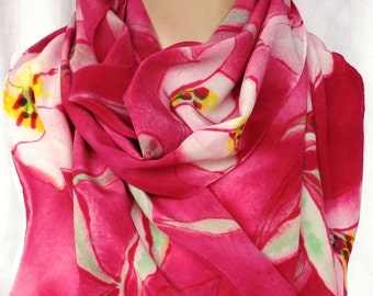 silk scarf hand painted extra large Pink Stargazer Lily unique burgundy red wearable art women luxury fashion