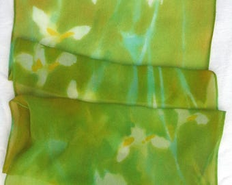 silk scarf chiffon Iris White Chartreuse unique hand painted wearable art women luxury fashion long spring floral