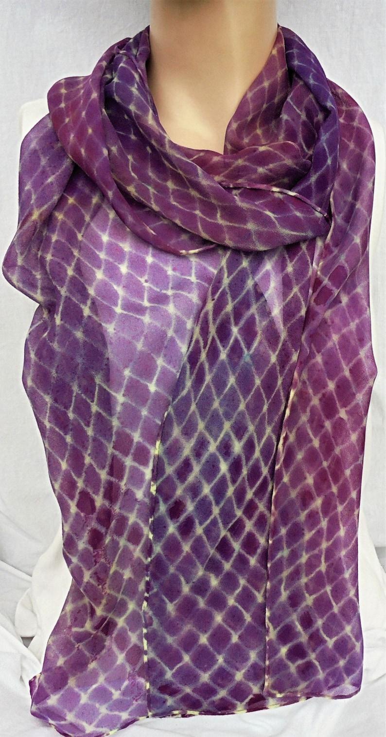 silk scarf hand painted extra long chiffon Purple Lemon image 0