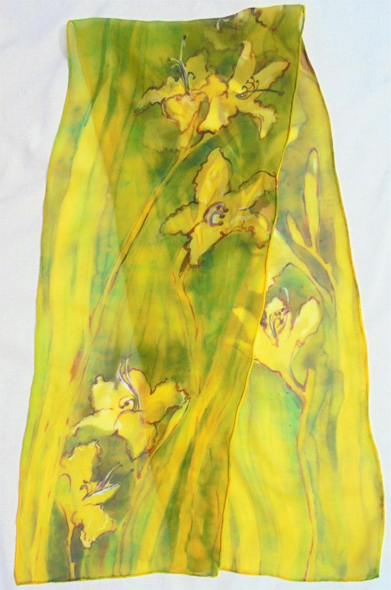 silk scarf long chiffon Humid Daylily unique hand painted image 0