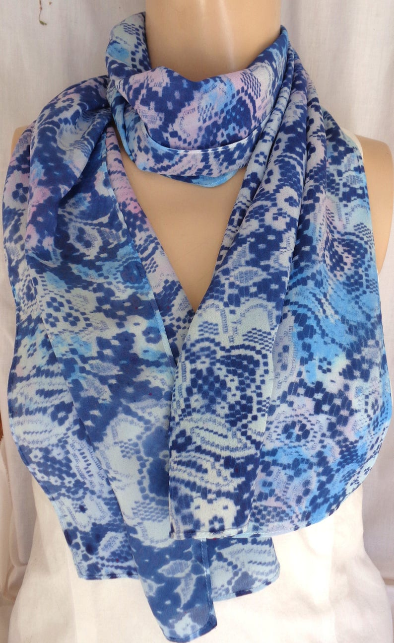 07879e19cd8 silk scarf long hand painted Pink Navy Blue long unique floral lace paisley  wearable art women fashion