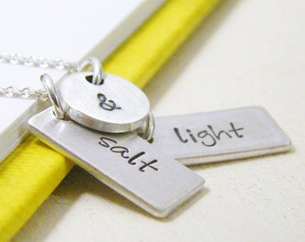 salt and light hand stamped sterling silver charm necklace