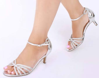 Silver Sandals Wedding Shoes Bridal Shoes Silver Wedding Etsy