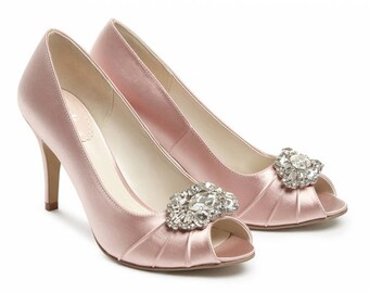 Wedding Shoes   Bridal Shoes   Crystal Embellished Wedding Shoes   Crystals    Blush Wedding Shoes   Custom Womenu0027s Wedding Shoes High Heels