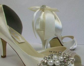 c70bacf8fd7e5 Wedding Shoes Great Gatsby Wedding Peep Toe Pumps Choose | Etsy