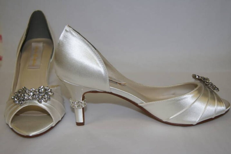 2aaeaaff6bba0 Wedding Shoes - Great Gatsby Wedding Peep Toe Pumps - Choose From Over 200  Colors - Ivory Wedding Shoes - Ivory Bridal Shoes - Crystal Heels