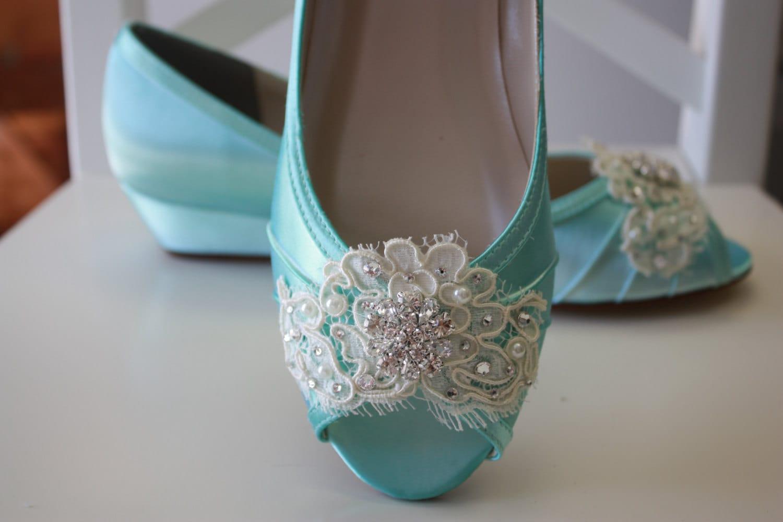 4829012b2a3 Lace Wedding Shoe Wedge Aqua Blue Bridal Shoes Lace Wedding