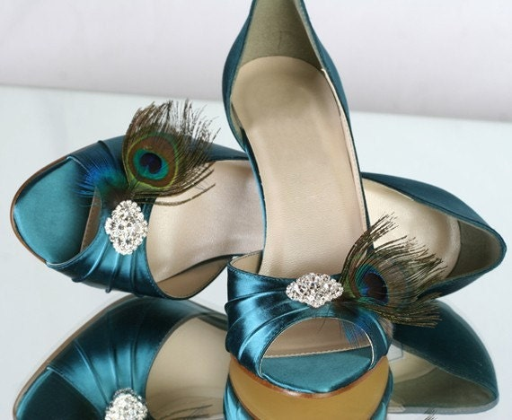 Wedding Shoes - Peacock - - Great Gatsby Wedding - Peacock Peacock Wedding - Art Deco - Peacock Blue Shoes - Choose From Over 100 Colors - Parisxox aeb4aa
