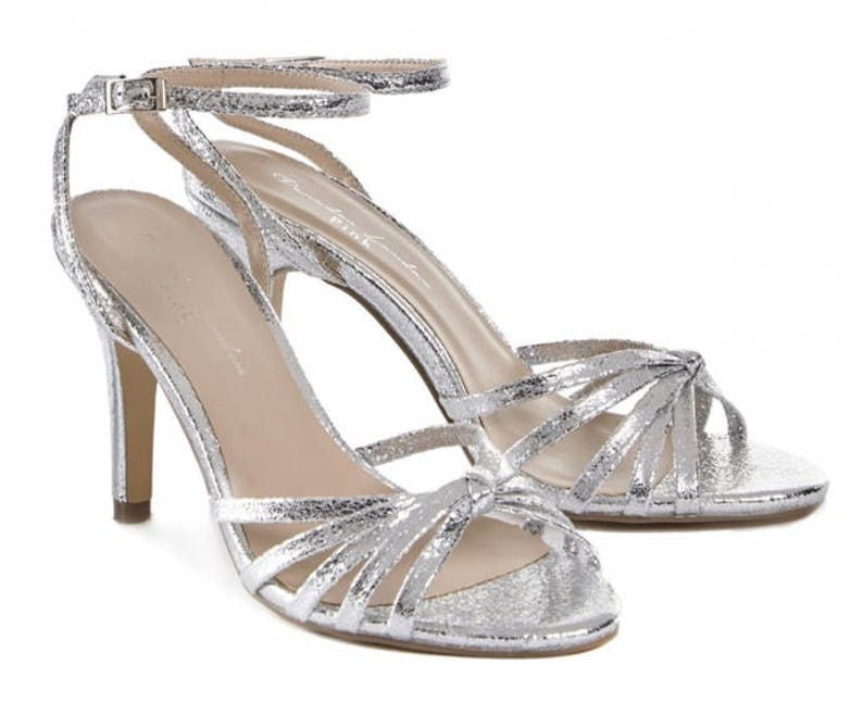 Silver Sandals Wedding Shoes Bridal Shoes Silver Wedding Shoes Crystals Silver Wedding Shoes Custom Women S Wedding Shoes High Heels