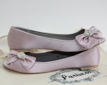 Flat Wedding Shoes - Lavender Bow Flats With Crystal - Choose From 6 Colors - Peep Toe Wedding Flats - Comfortable Wedding Flats - Parisxox