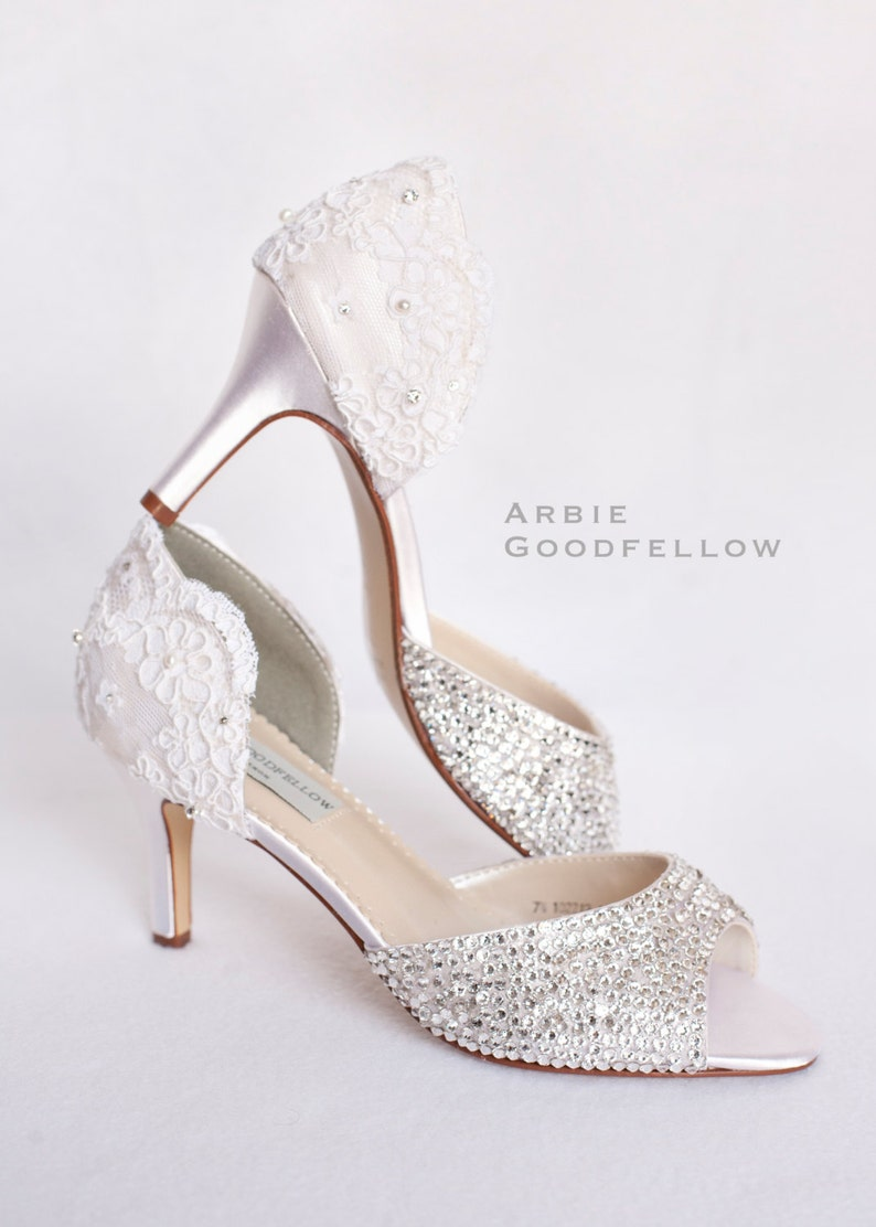 ab8c37f22307e Vintage Wedding Shoes - Lace Wedding Shoes - Crystal Wedding Shoes - Custom  Wedding Shoes - Ivory Wedding Shoes By Arbie Goodfellow