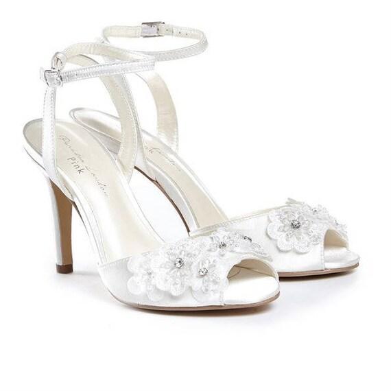 Wedding shoes flower embellished shoes high heels bridal etsy wedding shoes flower embellished shoes high heels bridal shoes romantic wedding accessory ankle strap white flower wedding dress shoe mightylinksfo