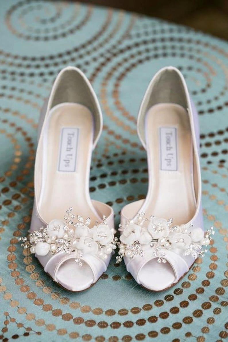 821352377577d Wedding Shoes , Embellished Swarovski Crystals & Pearls Bridal Shoe , Short  Wedding Heel, Peep Toe Shoe, Handmade Flower Shoe Clips,Parisxox
