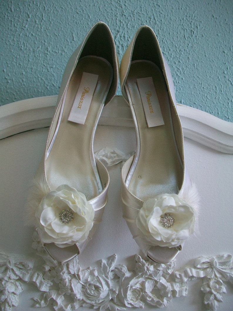 ea2b4d7d0215e Ivory Wedding Shoes - Handmade Flowers - Short Heel - Peep Toe - Feather  Wedding Shoes - Dyeable Wedding Shoes - Choose From Over 200 Colors