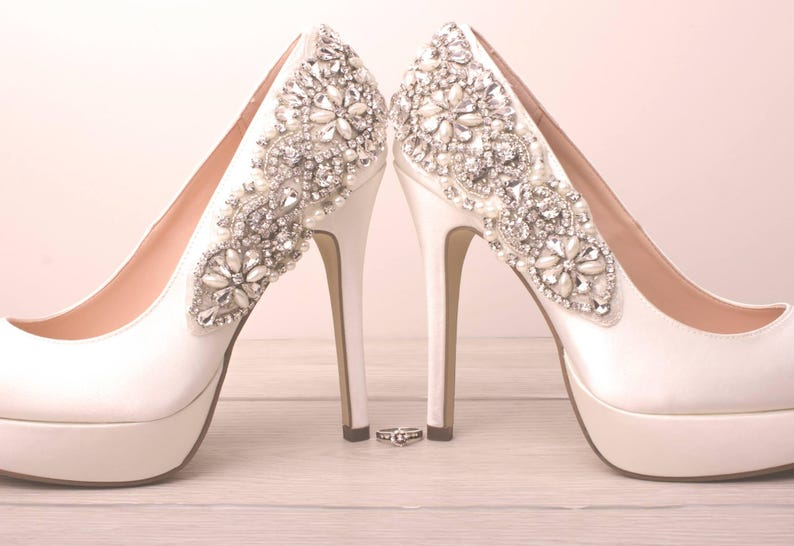 1fcc05f9e33 Wedding Shoes Crystal PlatformsPeep Toe White Bridal Heels
