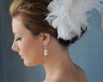 Wedding Fascinator/Feather Hairpiece/Feather Hair clip/ Bridal Feather Hair Clip/ Custom Made Wedding Headpiece/ Bespoke Feather Fascinator