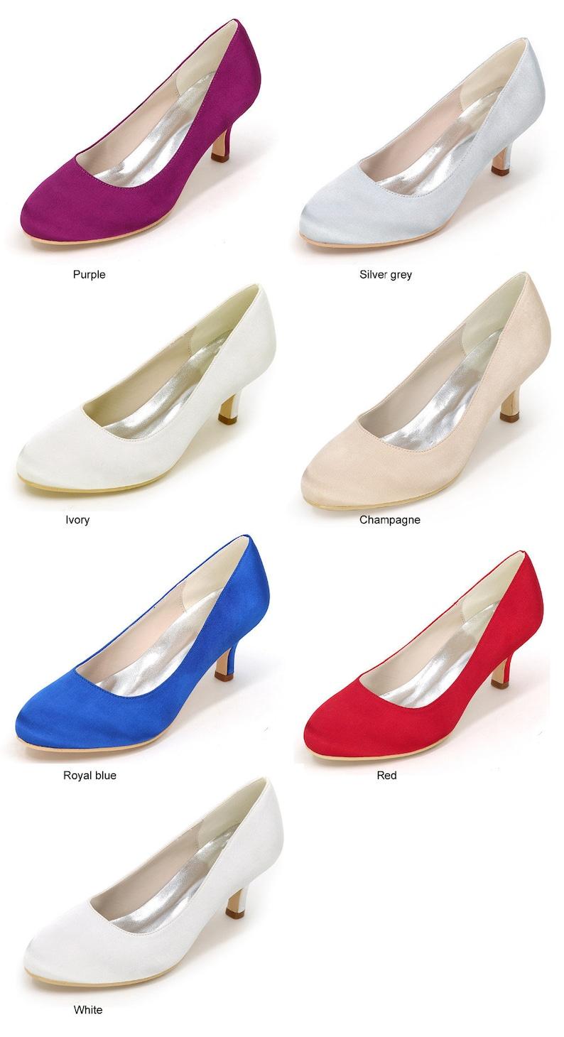 569bc5a3cd9 Plain Wedding Shoes Medium Heel Royal Blue Closed Toe