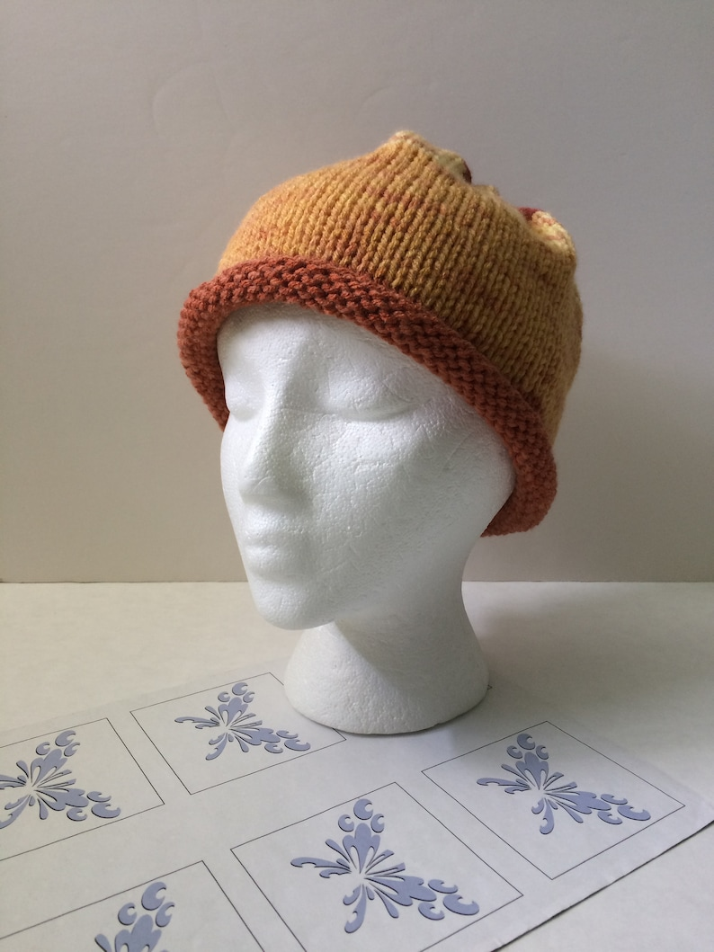 Hand Knitted Hats Large Pompom or Slouchy Beanie Hat Butterscotch Yellow Hand Knit Hats Sale Free Shipping