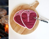 steak potholder - meat lover gift - fathersday gift - fun kitchen gift - fun potholders - t-bone, butcher, meat, grill kitchen potholders