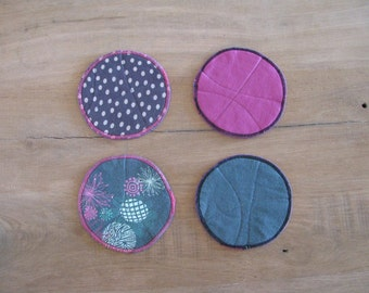 mix and match fabric coasters magenta green and grey upcycled coasters - set of 4x - floral polkadot motifs - fabric coasters gift