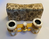 Lovely Vintage French Mother of Pearl Opera Glasses w Gold Flowers and Satin Fitted Case