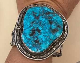 Beautiful and Huge Robert Charley Navajo Turquoise & Sterling Cuff Bracelet w/ Stamp Work