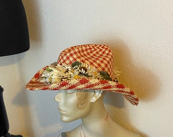 Carol Carr Palm Beach Straw Cowboy Hat with Red Houndstooth Plaid and Daisies