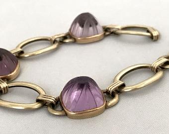 Elegant Art Deco 14K Gold Link Bracelet w/ Carved Amethyst Stones 26.4 grams Art Deco Carved Amethyst Bracelet