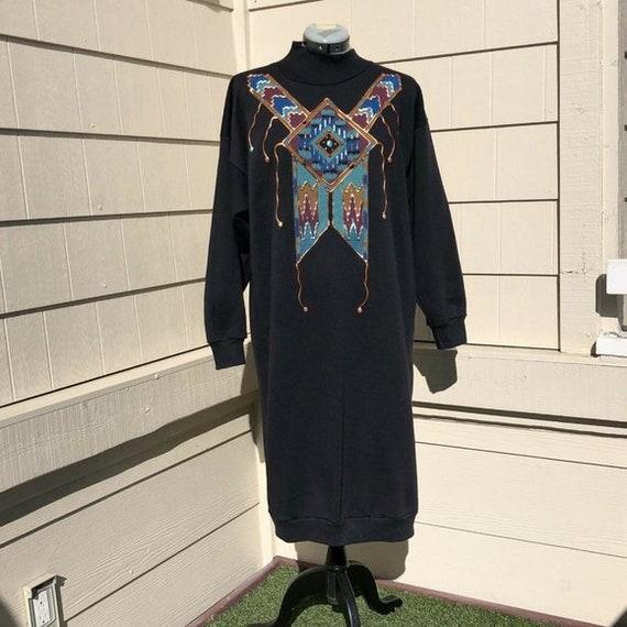 Vintage 80's Sunbelt Sweatshirt Dress Hand Painted