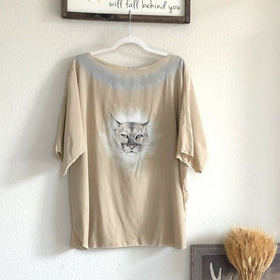Art To Wear Silk Hand Painted Wild Cat Top Shirt B
