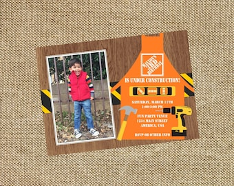 Home Depot Construction Birthday Photo Invitation