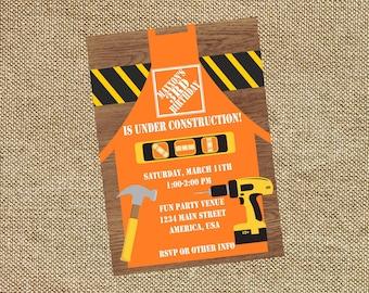 Home Depot Construction Birthday Invitation Invite