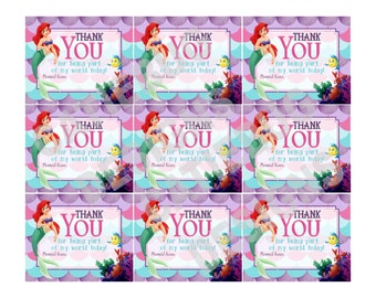 Ariel The Little Mermaid Party Thank You Favor Tags