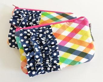 mini ruffle clutch --  checkered summer