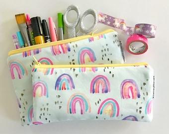 pencil pouch -- whimsical rainbow