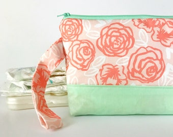 diaper and wipes clutch -- coral + mint