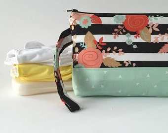 diaper and wipes clutch -- striped floral