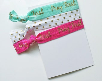 no crease elastic tie hairbands -- pray first in marine parents inspired colors