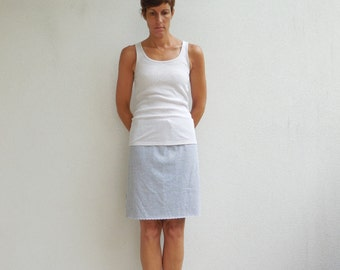 Womens T Shirt Skirt Gray Recycled Tees Upcycled Clothing Straight Knee Length Cotton Handmade Fashion Vacation Resortwear ohzie
