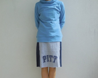 PITT University Skirt Pittsburgh Womens Clothing Recycled Tees Upcycled Cotton Soft Handmade Team Spirit Comfortable ohzie