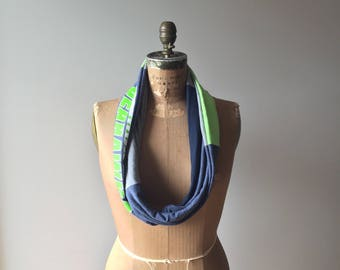 Seattle Seahawks TShirt Scarf NFL Football Upcycled Tee Accessories Recycled Clothing Cotton Handmade Soft Gift for Her Neck Warmer