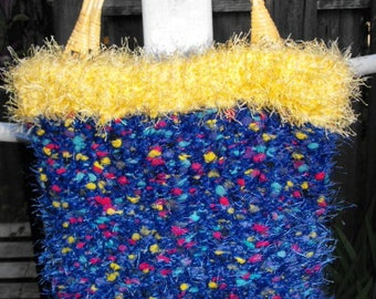 Blue with Multi-Colored Speckles and a Yellow Trim