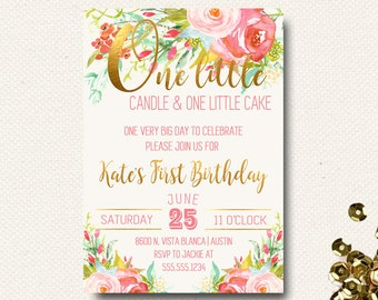 First Birthday Invitations for Girl, Floral Invites, Flower Garden Party, Enchanted Garden Theme, 1st Birthday