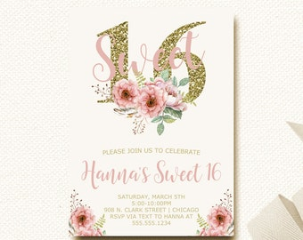 Sweet 16 Invitations 16th Birthday Party Invites Floral Boho Chic Glitter Invitation DIY Printable